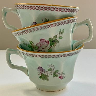 Teacup Robbin's Egg Blue with Purple Flowers Green Leaves by BeggarsBanquet