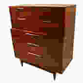 Mid century Kent Coffey Walnut Tall Dresser by Marykaysfurniture