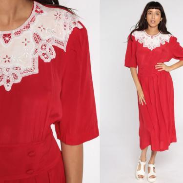 Red Pleated Dress 80s Midi Dress Lace Collar Dress Boho Embroidered Dress High Waist Secretary Short Sleeve Dress Vintage Medium Large by ShopExile