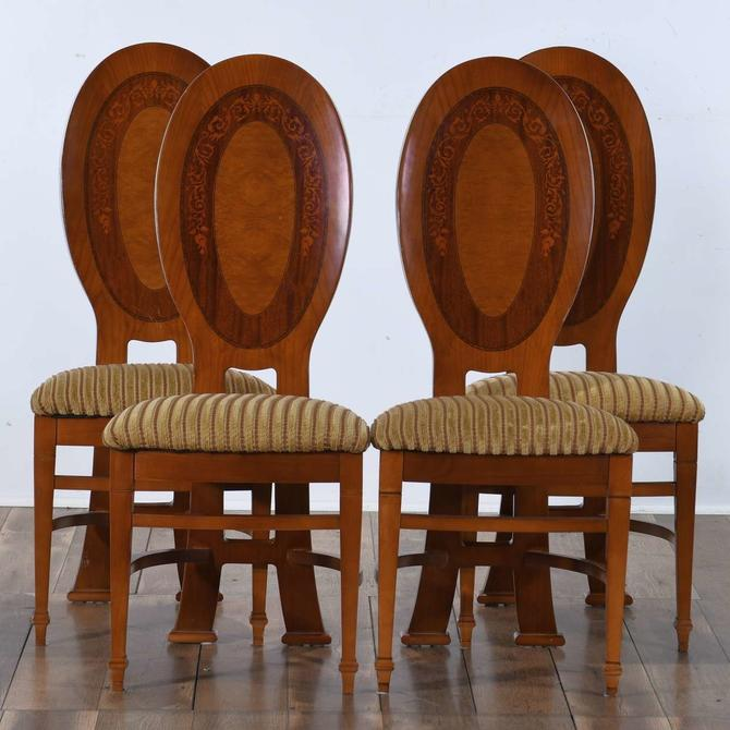 Set Of 4 Hepplewhite Dining Chairs W Marquetry Back
