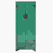 Chinese Oriental Distressed Aqua Green Moonface Tall Storage Cabinet cs5150S