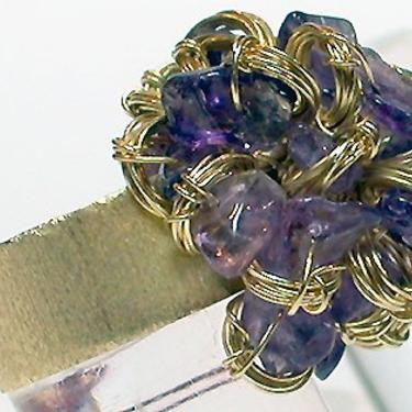 """Brazil Ring """"Brillo 3"""" Wired Brass with Violet Stones by CafeSocietyStore"""