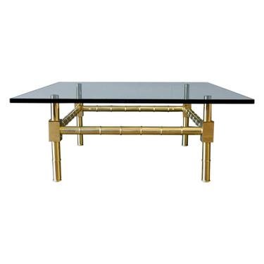 Hollywood Regency Brass and Glass Coffee Table by Mastercraft, ca. 1970