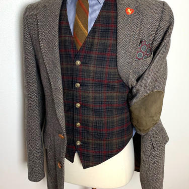 Vintage LEVI'S 100% Wool TWEED Blazer ~ 38 to 40 Long ~ Herringbone ~ jacket / sport coat ~ Elbow Patches ~ Preppy / Ivy League / Trad by SparrowsAndWolves