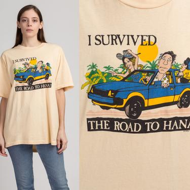 """80s """"I Survived The Road To Hana"""" Maui Hawaii T Shirt - Men's XL 
