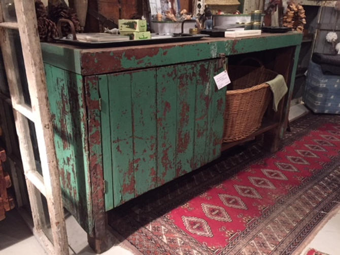 "Chippy Green Industrial Cabinet, 55"" l x 34"" d x 30"" t, $375."