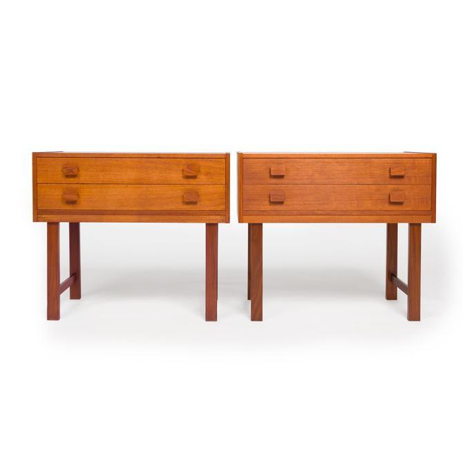 Vintage Danish Modern Teak Wood Nightstands — Pair by MCMSanFrancisco