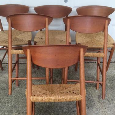 Danish Scandinavian Teak 6 Dining Chairs by Peter Hvidt & Orla Molgaard Nielsen by DanishGarage