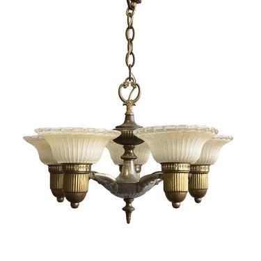 Restored Art Deco Nickel & Cast Brass Chandelier with 5 Glass Shades