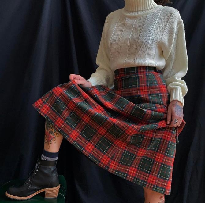 Vintage Red Plaid Maxi Skirt by milkandice