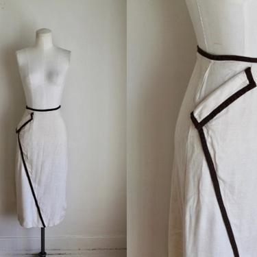 "Vintage 1950s Cream & Brown Diagonal Pocket Pencil Skirt / M / 30"" waist by MsTips"