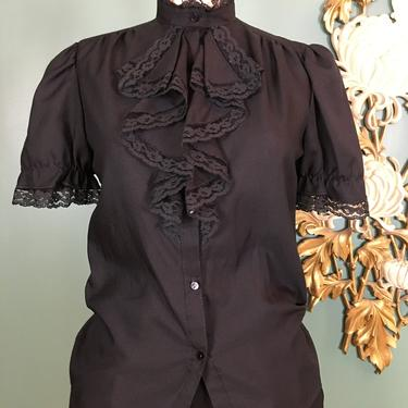 1980s blouse, jabot blouse, vintage 80s blouse, ruffled blouse, black button up, ruffled shirt, 34 bust, puff sleeves, mock neck, small med by BlackLabelVintageWA