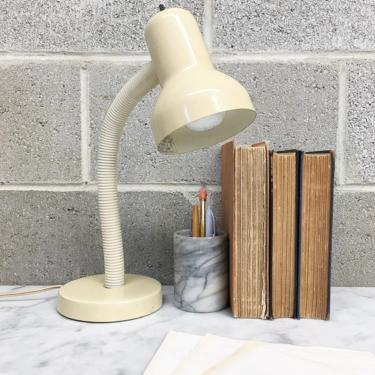 Vintage Desk Lamp Retro 1970s Mid Century Modern + Adjustable Gooseneck + Buttercream + Plastic + Mood Lighting + MCM + Home and Table Decor by RetrospectVintage215
