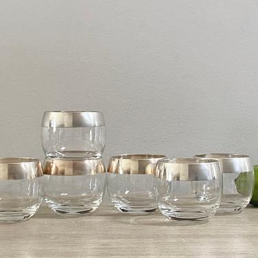 Authentic Dorothy Thorpe Silver Band Roly Poly Glasses Whisky Glass Set of 6 MCM Mid Century Barware by ModRendition