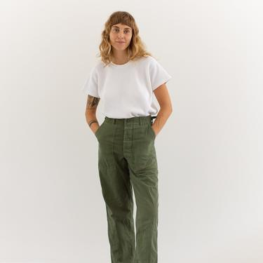 Vintage 26 27 28 Waist Olive Green Army Pants   Herringbone Twill Utility Fatigues Military Trouser   Button Fly   F110 by RAWSONSTUDIO