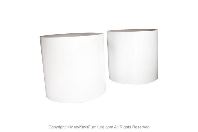 Post Modern Pair White Laminate Cylindrical Pedestal Side Tables by Marykaysfurniture