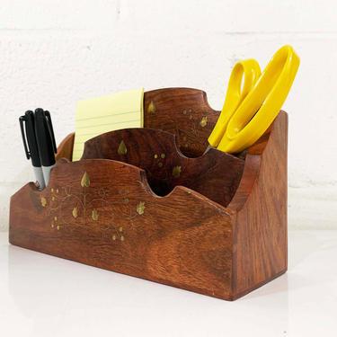 Vintage Brass Inlayed Wooden Desk Organizer Letter Holder Wood Dark Brown Boho Retro Storage Mail Container Office Crafts by CheckEngineVintage