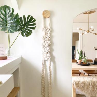 "Fiber Art ""Scala"" WITH Wooden Knob Macrame Wall Hanging, Textile Fiber Knot Art, Fringe Scandi Style, Bohemian Accent, Macrame Rope Art by shopcandiceluter"