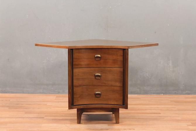 Mid Century Walnut & Laminate 3-Drawer Corner Commode – ONLINE ONLY