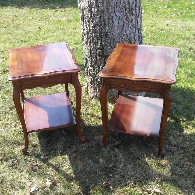 VINTAGE End Tables,  French Provincial Style,  Solid Wood Tables with a Bottom Shelf and a Pull Out Shelf, Mid Century Decor. by 3GirlsAntiques