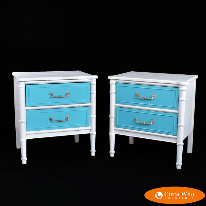 Pair of Faux Bamboo White and Blue Nightstands