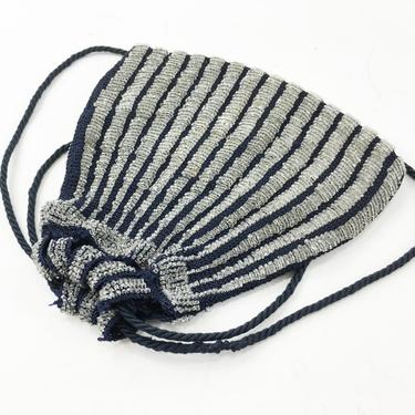 1900s Navy & Silver Glass Beaded Purse   Drawstring Striped Pouch Bag by GlennasVintageShop