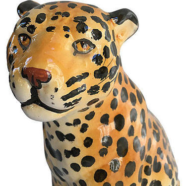 SOLD-Midcentury Italian Leopard Figurine by BostonVintageStudio