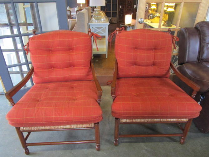 PAIR OF DURALEE RUSH SEAT ARM CHAIRS WITH CUSHIONS