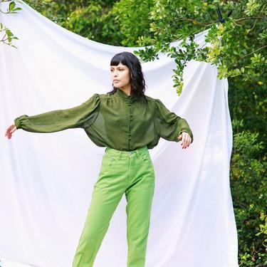 80s Lime Green High Waisted Jeans Vintage Bright Denim Pants by AppleBranchesVintage