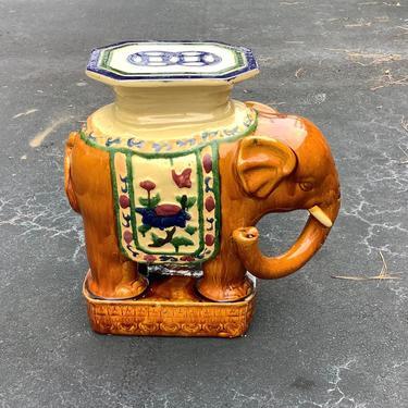 Vintage Asian large elephant garden stool / plant stand by HolbrookBazaar