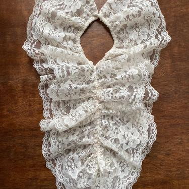 Vintage Cream Lace Ruffle Collar Bibb OSFA accessories by TheUnapologeticSoul