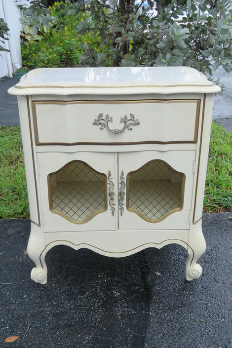 French Painted Marble Top Nightstand Side End Table 1567
