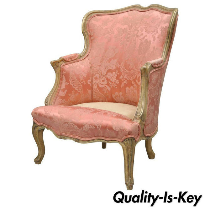 Antique French Louis XV Style Painted and Upholstered Bergere Childs Chair