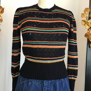 1990s stripe sweater, 90s knit top, vintage sweater, cropped sweater, small medium, just looking, puff shoulders, black sweater, long sleeve by melsvanity