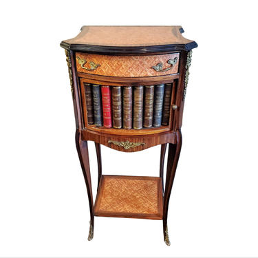 Fine French Rosewood Parquetry Inlaid Ormolu Mounted Faux Book Bedside Cabinet / Nightstand / End Table circa 1940s by LynxHollowAntiques