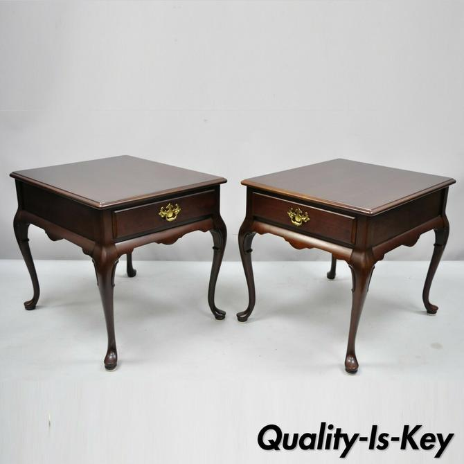 Pair Cherry Wood Queen Anne 1 Drawer Rectangle End Tables Hammary Carlton Manor
