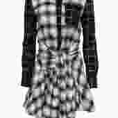 Derek Lam 10 Crosby - Black & White Two-Toned Plaid Flannel Dress w/ Tie Sz 0