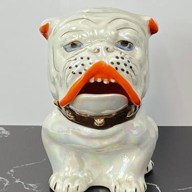 Vintage Japan Porcelain Bulldog Dog Condiment Jar Dish Lusterware Mid Century Modern by HouseofVintageOnline