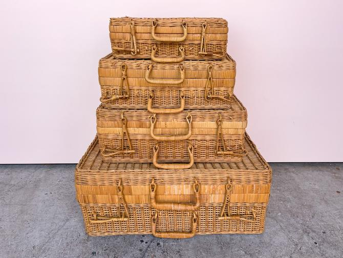Set Of Four Rattan Suitcases