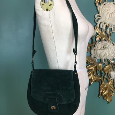 1970s suede purse, vintage 70s shoulder bag, hippie purse, green suede, bohemian style, vintage purse, 1970s bag, satchel style, long strap by BlackLabelVintageWA