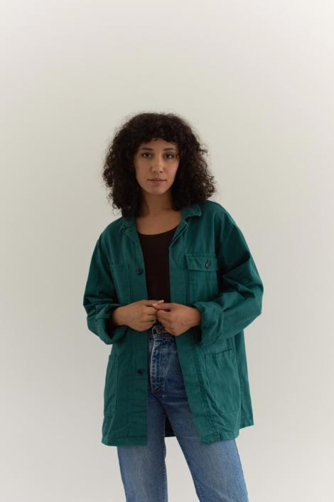 Vintage Emerald Green Chore Coat   Unisex Cotton Utility Jacket   Made in Italy   M   by RAWSONSTUDIO