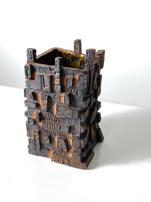 Unique Mid Century Modern Brutalist Signed Studio Pottery Vase 1970s by 20cModern