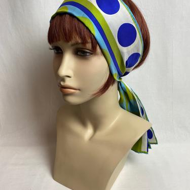 VERA 60's beautiful soft silk ~ extra long scarf ~big polkadot groovy pattern~ vintage all silk necktie hair wrap VERSATILE by HattiesVintagePDX