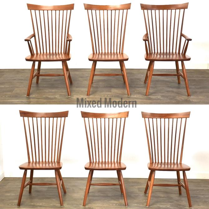 Cherry Windsor Back Modern Dining Chairs - Set of 6 by mixedmodern1