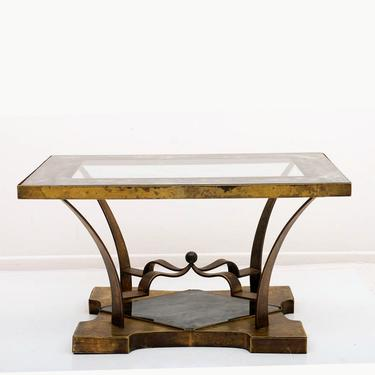 Mexican Modern Arturo Pani Brass Eglomise Sculptural SIDE ACCENT Table 1950s by AMBIANIC
