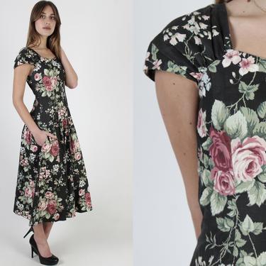 80s Lanz Designer Dress / Black Cotton Garden Floral Dress / 1980s Liberty Print Hip Pockets Dress / Romantic Flower Bouquet Print by americanarchive