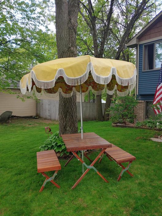 Groovy Calpatio Yellow White Fringed Patio Umbrella by RedsRustyRelics