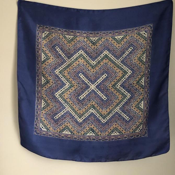 94ea8e21953c2 Vintage Liberty of London Silk Scarf, navy blue geometric scarf, 26