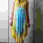 Vintage Yellow and Blue Hippy Tie Dyed Dress by LadyMadelaineVintage