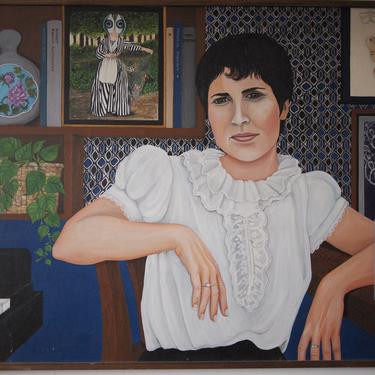 "Original 1984 ARONA REINER Portrait PAINTING 30x40"" Oil / Canvas, Female Woman Jewish Israel Mid-Century Modern Art Postmodern Surrealist by refugegallery"